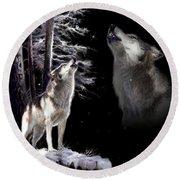 Wolf  Howling Memory Round Beach Towel
