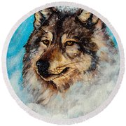 Round Beach Towel featuring the painting Wolf In A Snow Storm by Bob and Nadine Johnston