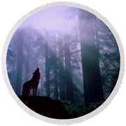 Wolf In The Woods Round Beach Towel