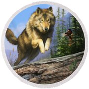 Round Beach Towel featuring the painting Wolf Run Indian Hunter by Rob Corsetti