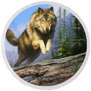 Wolf Run Round Beach Towel