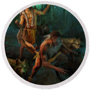 Round Beach Towel featuring the painting Wolf Warriors Change by Rob Corsetti