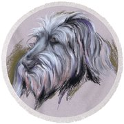 Wolfhound Portrait Round Beach Towel