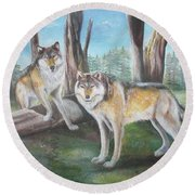 Round Beach Towel featuring the painting Wolves In The Forest by Thomas J Herring
