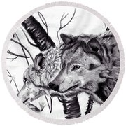 Round Beach Towel featuring the drawing Wolves by Mayhem Mediums