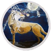 Round Beach Towel featuring the painting Wolves Mouth  by Lazaro Hurtado