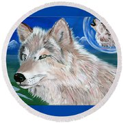 Round Beach Towel featuring the painting Wolves by Phyllis Kaltenbach