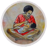 Round Beach Towel featuring the drawing Woman And Child by Anthony Mwangi