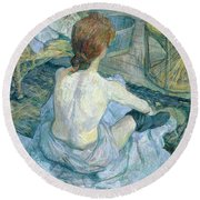 Woman At Her Toilet, 1896  Round Beach Towel