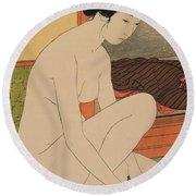 Woman Bathing Taisho Era Round Beach Towel