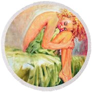 Round Beach Towel featuring the painting Woman In Blissful Ecstasy by Sher Nasser