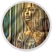 Woman In Glass Round Beach Towel