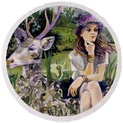 Woman In Hat Dreams With Stag Round Beach Towel