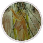 Woman In Sticks Round Beach Towel