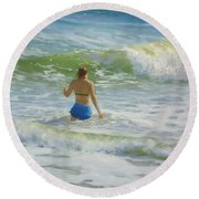 Woman In The Waves Round Beach Towel