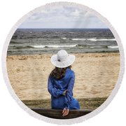 Woman On A Bench Round Beach Towel