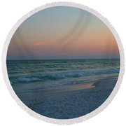 Woman On Beach At Dusk Round Beach Towel