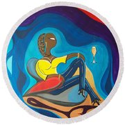Woman Sitting In Chair Surrounded By Female Spirits Round Beach Towel