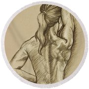 Round Beach Towel featuring the drawing Woman Sketch by Rob Corsetti
