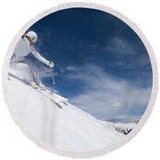 Woman Skiing At Loveland, Colorado Round Beach Towel