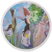 Round Beach Towel featuring the painting Woman The Nurturer by Judith Desrosiers