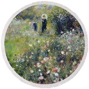 Woman With A Parasol In A Garden, 1875 Round Beach Towel