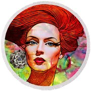 Woman With Earring Round Beach Towel