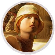 Woman With Hat - Chuck Staley Round Beach Towel