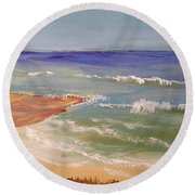 Round Beach Towel featuring the painting Wombarra Beach by Pamela  Meredith
