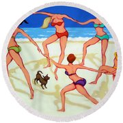Women Dancing On Beach - Happy Dance Round Beach Towel by Rebecca Korpita
