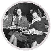Women In Airline Class Round Beach Towel