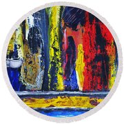 Round Beach Towel featuring the painting Women In Ceremony by Kicking Bear  Productions