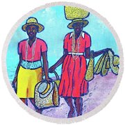 Women On Beach At Grenada Round Beach Towel