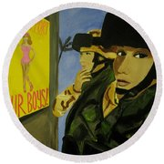 Round Beach Towel featuring the painting Women Warriors And The Pinup by Michelle Dallocchio