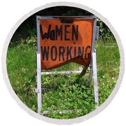 Round Beach Towel featuring the photograph Women Working by Ed Weidman
