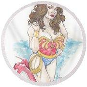 Wonder Woman Round Beach Towel by Jimmy Adams
