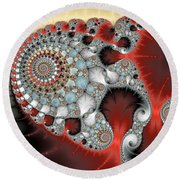Wonderful Abstract Fractal Spirals Red Grey Yellow And Light Blue Round Beach Towel
