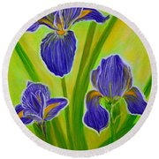 Wonderful Iris Flowers 3 Round Beach Towel
