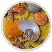 Wonderful Sea Life Round Beach Towel