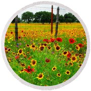 Wonderful Wildflowers Round Beach Towel