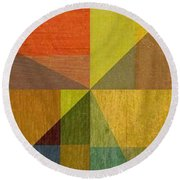 Wood And Angles Round Beach Towel
