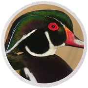 Wood Duck Color Round Beach Towel