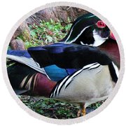Round Beach Towel featuring the photograph Wood Duck by Cynthia Guinn