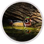 Wood Duck In Wood Round Beach Towel by Robert Frederick