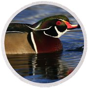 Wood Duck Waterdrops Round Beach Towel