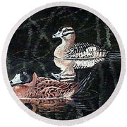 Round Beach Towel featuring the painting Wood Ducks Study by Donna Tucker