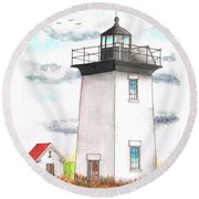 Wood End Lighthouse - Massachusetts Round Beach Towel by Carlos G Groppa