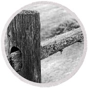 Wood Railing Round Beach Towel