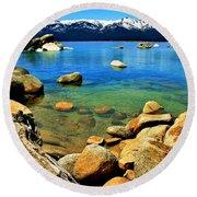 Wood Stone Water Round Beach Towel