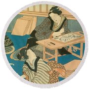 Woodblock Production Round Beach Towel